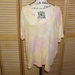 Free People Pink/Yellow Tie Die Tee Shirt